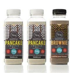 Vegan Protein Baking Mix Trio by The Vegain Bros - 2 x Vanilla Pancake & Waffle Mix & 1 x Chocolate Brownie Mix