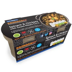2 x Spinach & Chickpea Curry Ready Meal with Sweet Potato by SamosaCo 350g - Vegan Ready Meal