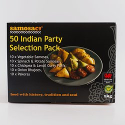 Indian Party Food Selection Pack (50 Pieces) by SamosaCo 1kg inc. Samosas, Bhajees & Pakoras