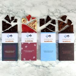 Handmade Chocolate Bar Selection by Chocolates of Glenshiel 4 x 70g Scottish Chocolate Bars