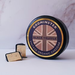 Godminster Black Truffle Cheese Gift Box 1kg - Organic Vintage Cheddar Cheese with Black Truffles