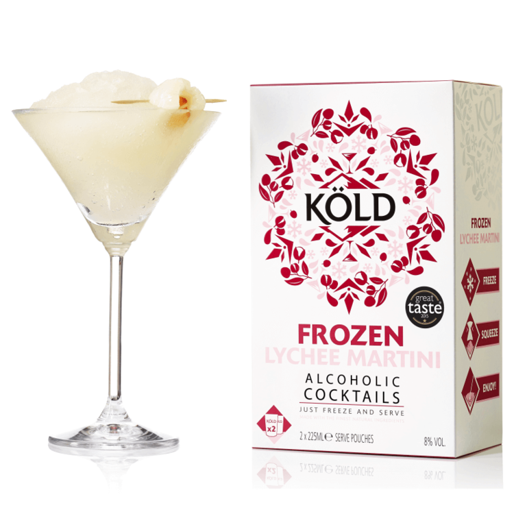 2 Frozen Lychee Martini Cocktails - Lychees Blended with Vodka 225ml (Ready to Freeze at Home)