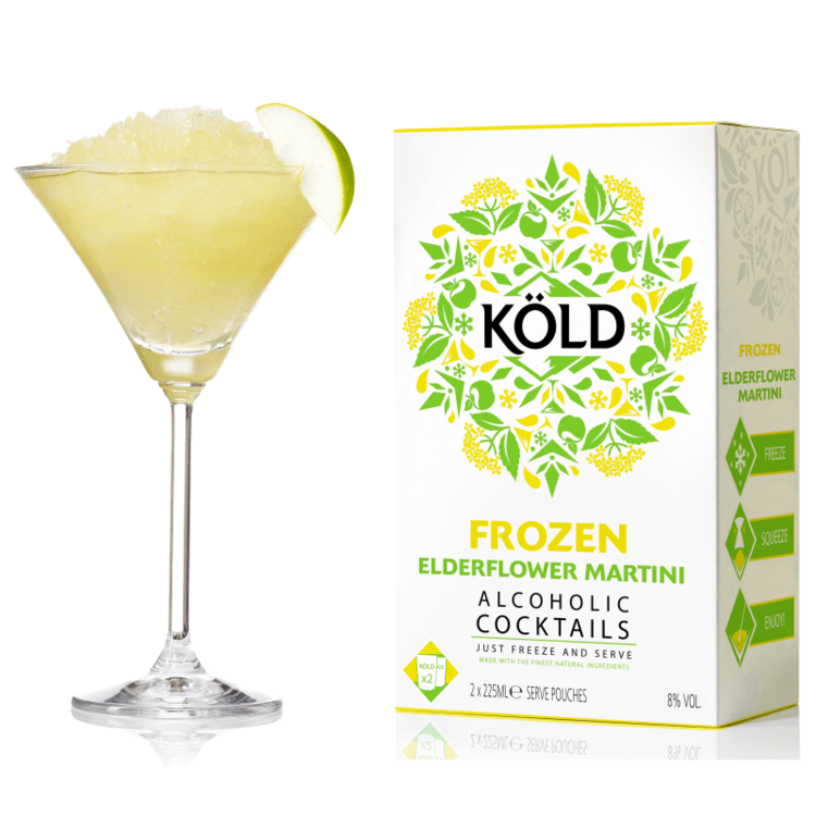2 Frozen Elderflower Martini Cocktails with Mint, Lime & Vodka 225ml (Ready to Freeze at Home)