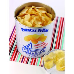 Bonilla a la Vista Patatas Fritas - Gourmet Crisps in a Tin - Sea Salt and Olive Oil Crisps 500g