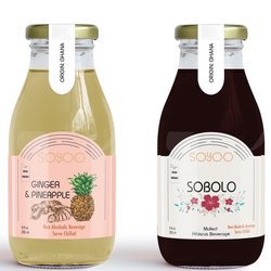 Sobolo Mulled Hibiscus and Ginger & Pineapple Soft Drink Set by SoYoo 6 x 250ml