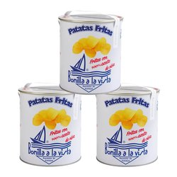 3 x Olive Oil & Sea Salt Gourmet Crisps 'Patatas Fritas' 500g Party Tins