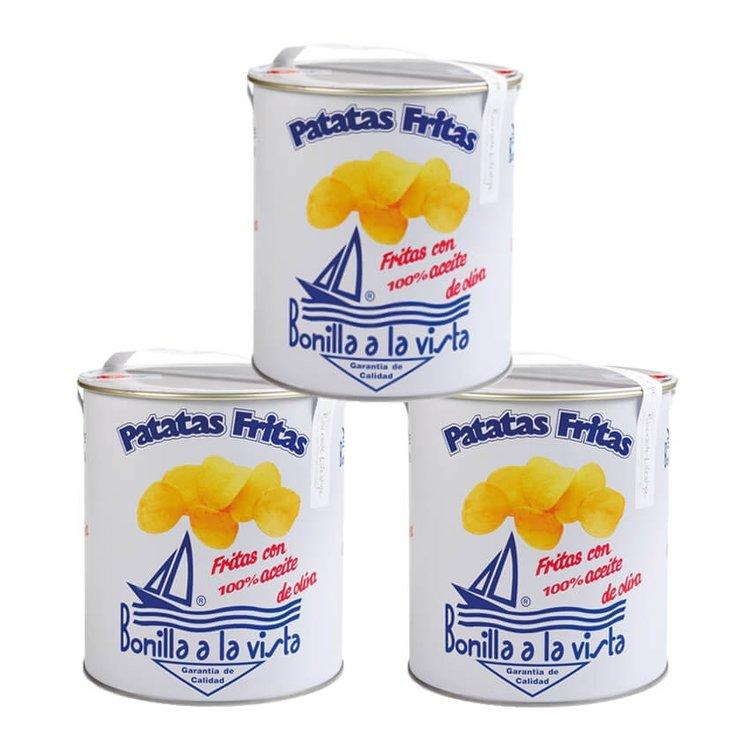 3 x Olive Oil & Sea Salt Gourmet Crisps 'Patatas Fritas' 500g Party Tins
