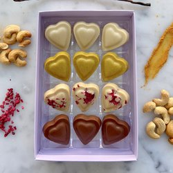 Vegan Cashew Chocolate Heart Truffle Gift Box by Luisa's Vegan Chocolates - Superboost 'Casholate' Collection (12 Pieces)
