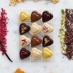 Vegan Chocolate Heart Truffle Gift Box by Luisa's Vegan Chocolates (12 Pieces)