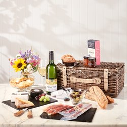 Luxury Staycation Picnic Hamper with Wine - Gourmet Cheese & Wine Hamper