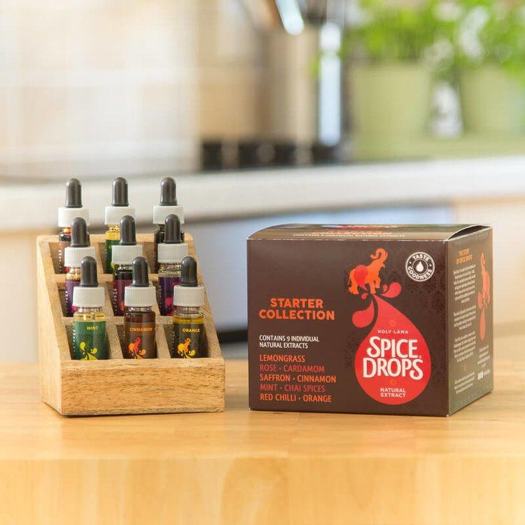 'Spice Drops' Gift Starter Selection in Wooden Rack Inc. Saffron, Cinnamon, Chilli, Chai & More