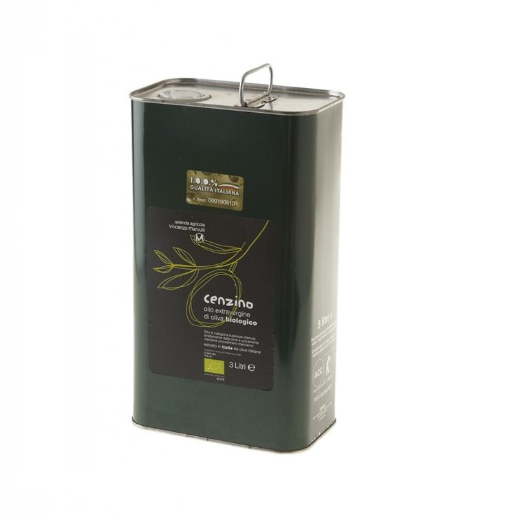 "Organic Extra Virgin Olive Oil ""Cenzino"" Tin 3litres"