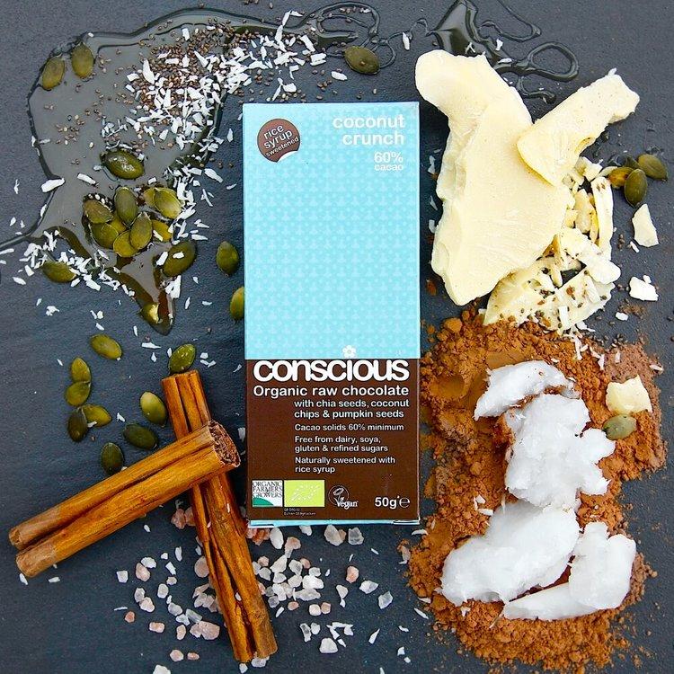 Organic Coconut Crunch Raw Chocolate Bar 50g