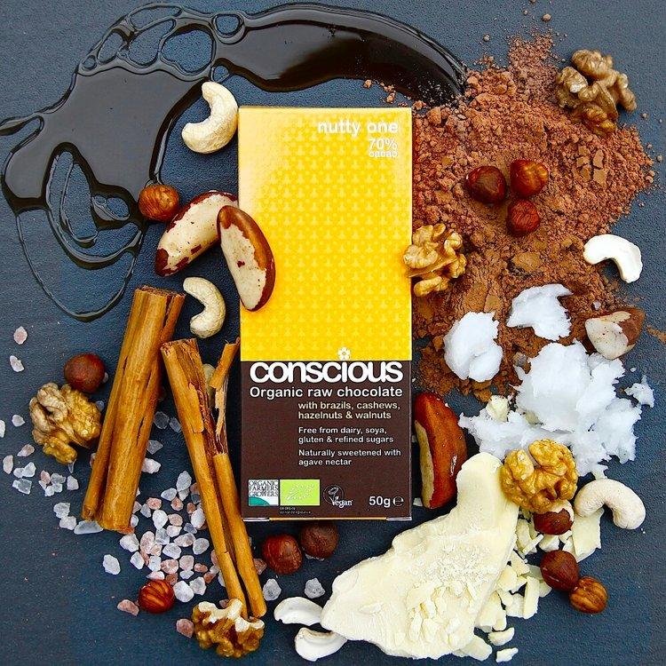 Nutty One Organic 70% Raw Chocolate Bar 2 x 50g (Get 1 Extra Free!)