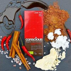 3 x Organic 70% Raw Hot Chilli Chocolate Bar 50g