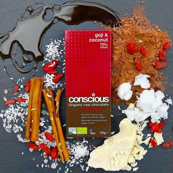 3 x Organic Goji & Coconut Raw Chocolate Bar 50g