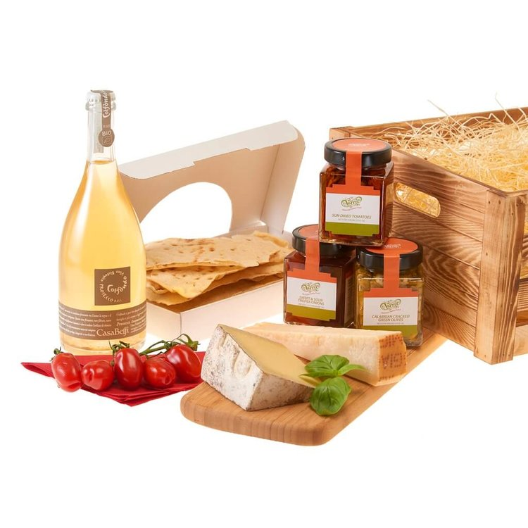Prosecco, Cheese and Antipasti Hamper with Wooden Crate