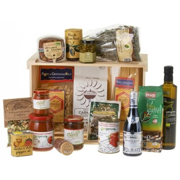 Traditional Italian Speciality Food Gift Hamper, Inc. Olive Oil, Balsamic Vinegar & Coffee