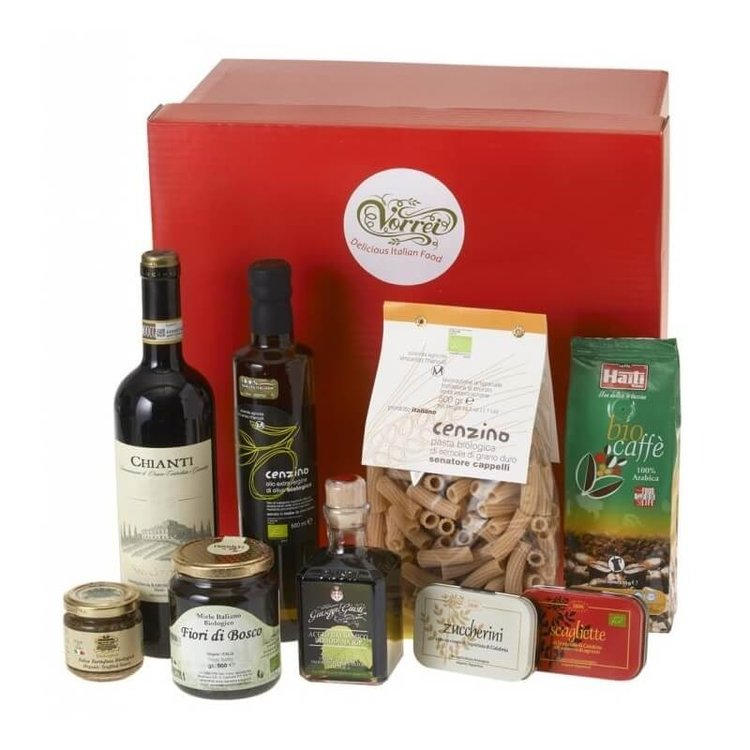 Handpicked Organic Italian Food and Red Wine Gift Box Inc. Honey, Coffee, Pasta, Olive Oil & More