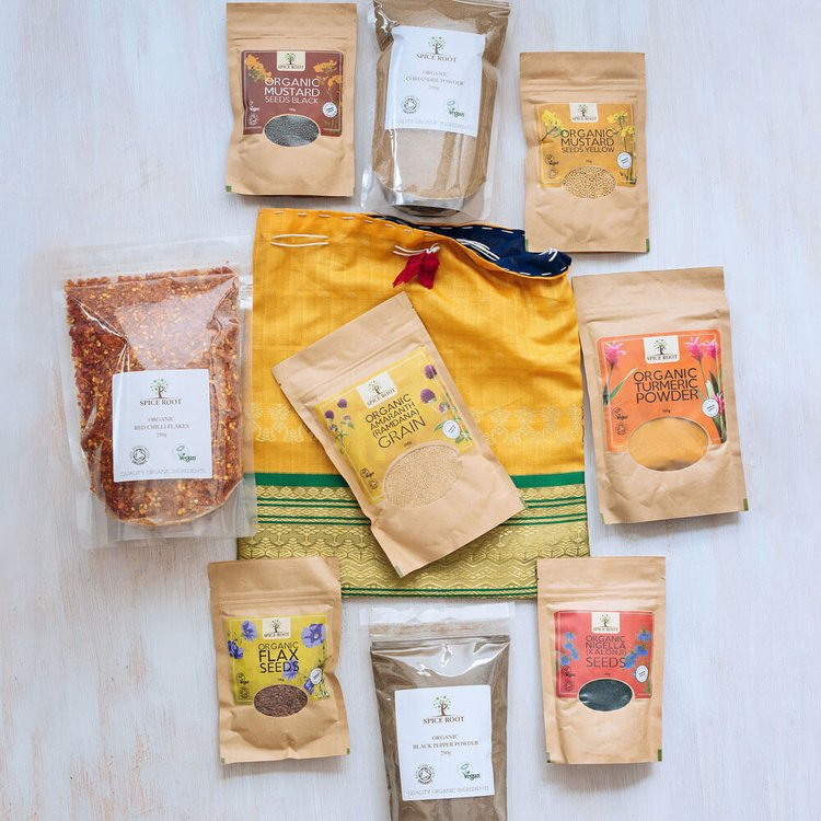 Organic Ingredients Gift Set in Cloth Bag (Inc. Seeds & Spices)