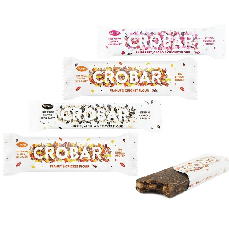 Natural Protein-Rich Energy Bars with Cricket Flour 40g/30g Mixed Pack of 4