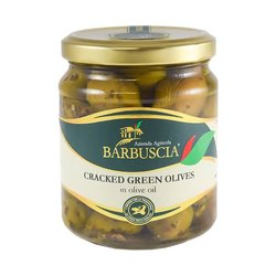 Sicilian Cracked Green Olives in Olive Oil 314ml