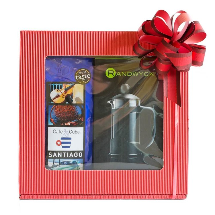 Santiago Cuban Coffee Gift Set with Ground Coffee & 3-Cup Coffee Maker