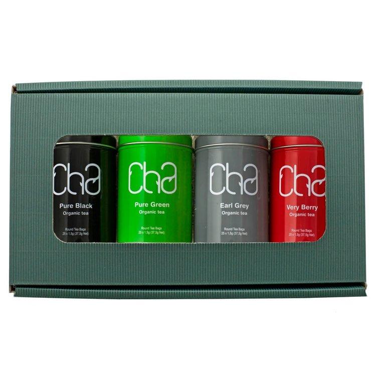 Organic Cha Tea Gift Set (Inc. 4 Tea Tins)