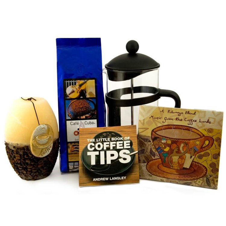 Luxury Coffee Lovers' Gift Bag with Santiago Coffee, Coffee Maker, Book & More