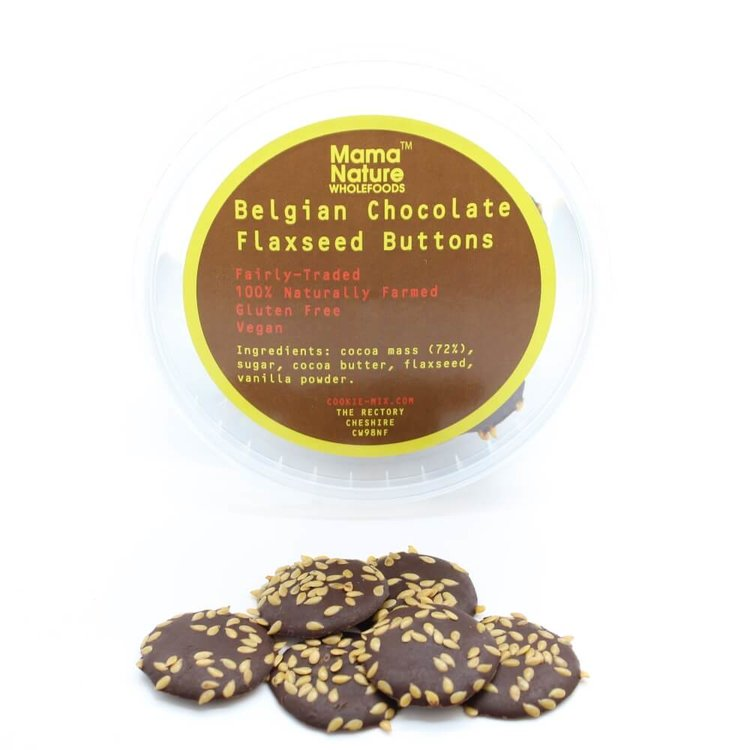 Belgian Chocolate Flaxseed Buttons 100g
