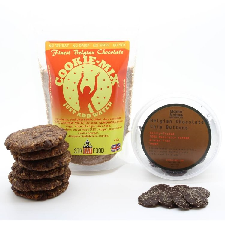 Belgian Chocolate Cookie Mix and Chia Buttons Bundle