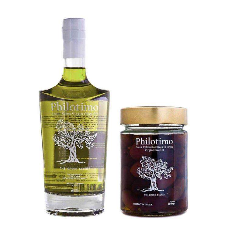Extra Virgin Olive Oil 500ml & Greek Kalamata Olives in Extra Virgin Olive Oil 180g