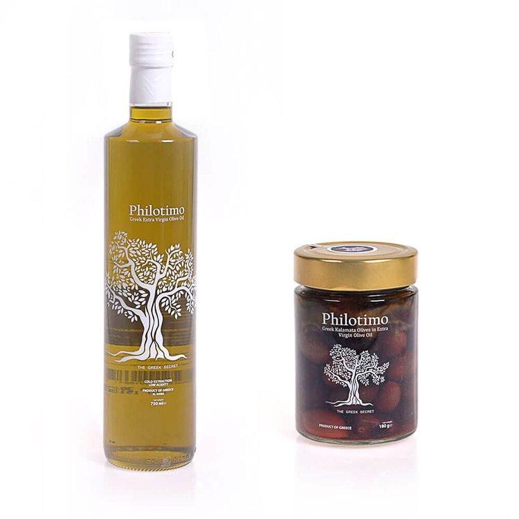 Extra Virgin Olive Oil 750ml & Greek Kalamata Olives in Extra Virgin Olive Oil 180g