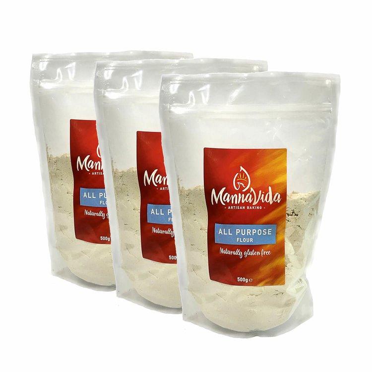 3 x All-Purpose Plain Flour Mix 500g (Gluten Free Inc. Tapioca, Potato, Rice, Maize & Sorghum)
