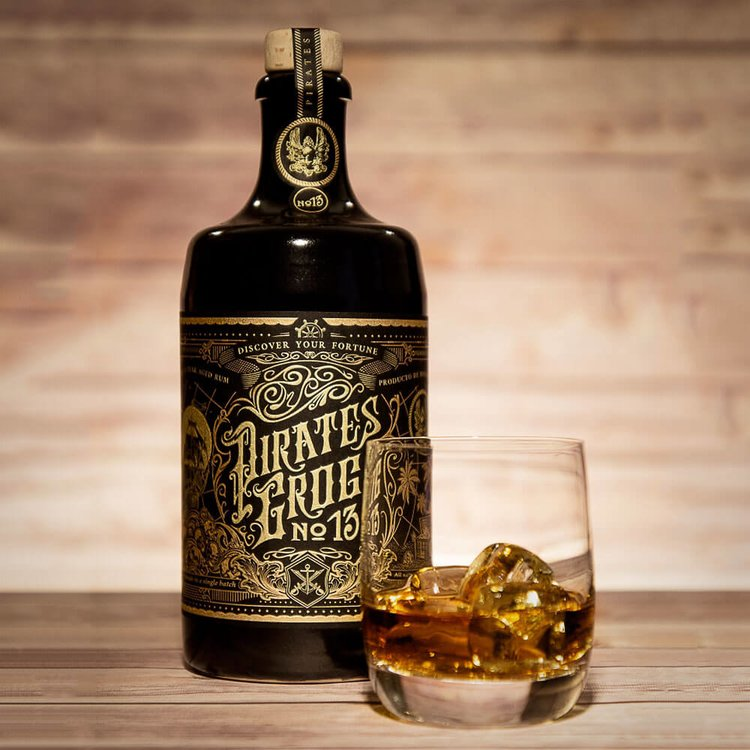 Pirate's Grog 'No.13' Single Batch 13 Year Aged Golden Rum 700ml with Personalised Scroll