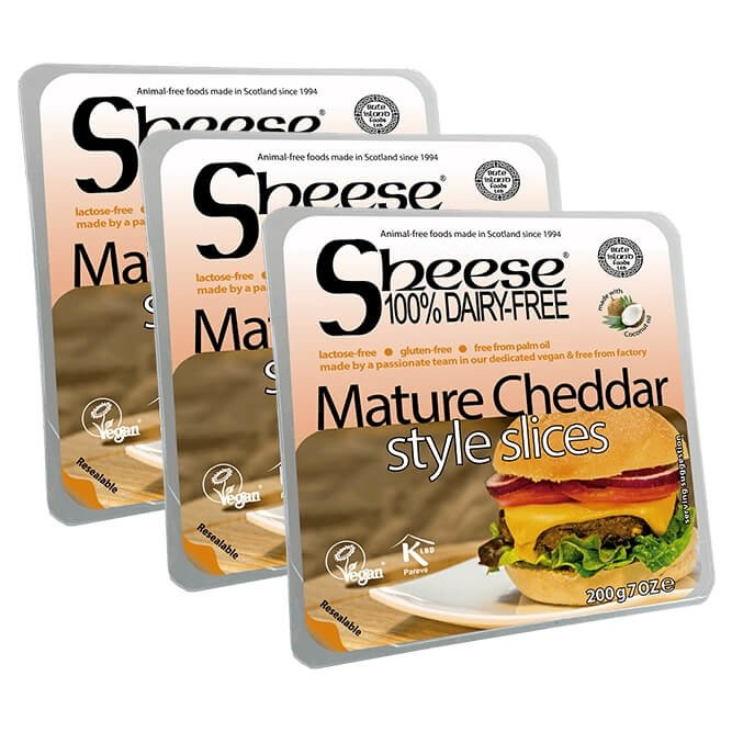 Dairy-Free Mature Cheddar Style Vegan Cheese ('Sheese') Slices 3 x 200g by Bute Island