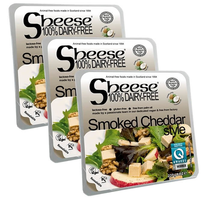 Dairy-Free Vegan Smoked Cheddar Style Vegan Cheese ('Sheese') 3 x 227g by Bute Island