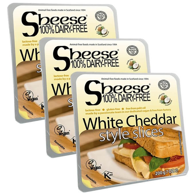 Dairy-Free White Cheddar Style Vegan Cheese ('Sheese') Slices 3 x 200g by Bute Island