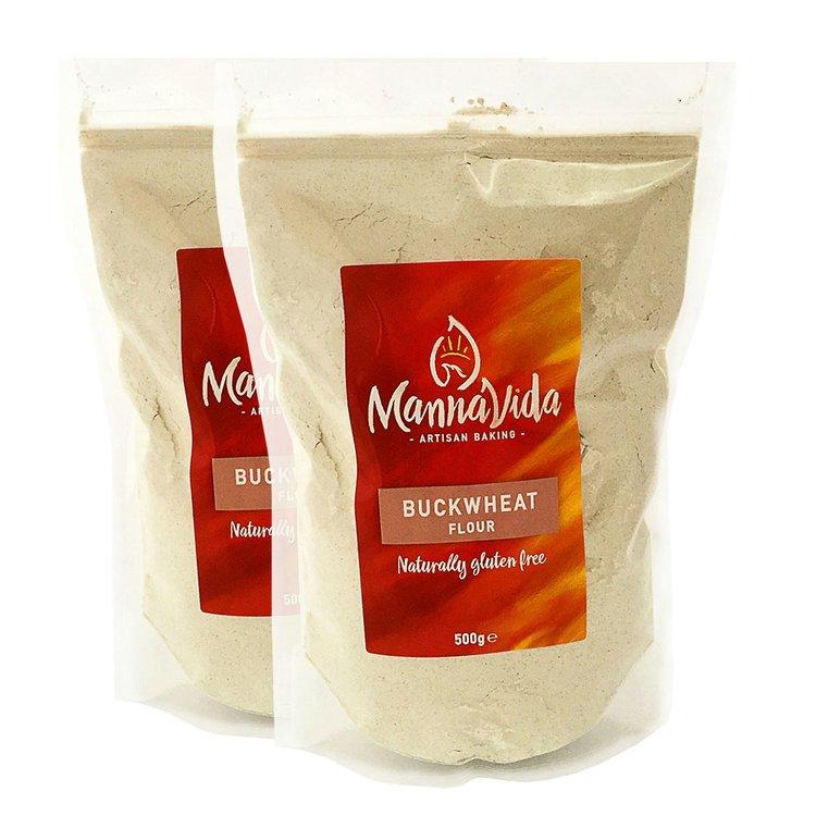 2 x Buckwheat Flour 500g - For Pancakes, Scones & Noodles (Gluten Free & 13% Protein)