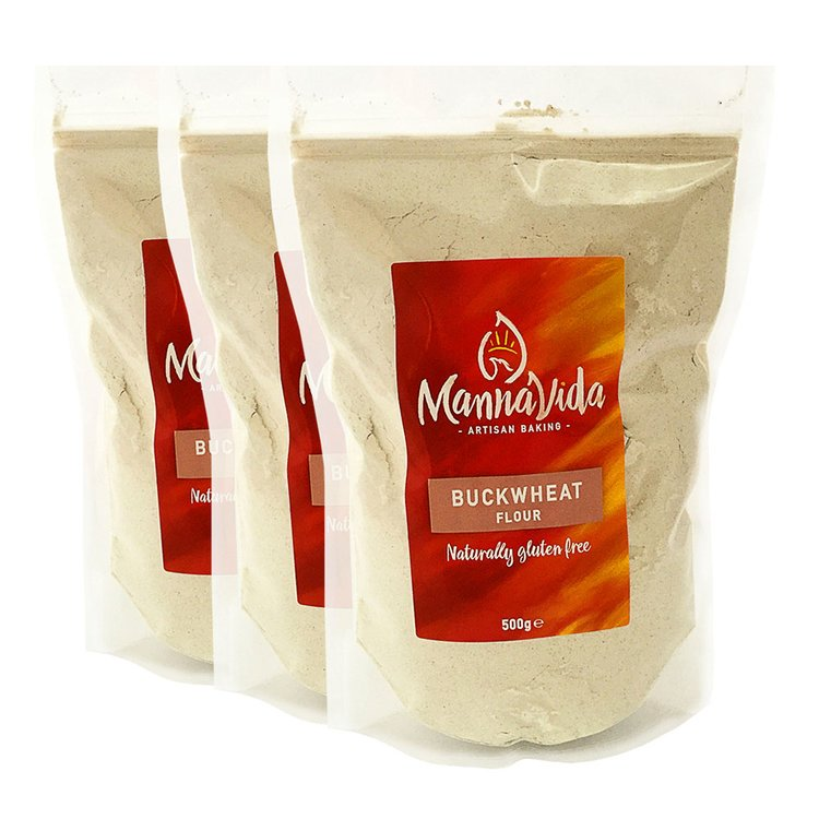 3 x Buckwheat Flour 500g - For Pancakes, Scones & Noodles (Gluten Free & 13% Protein)