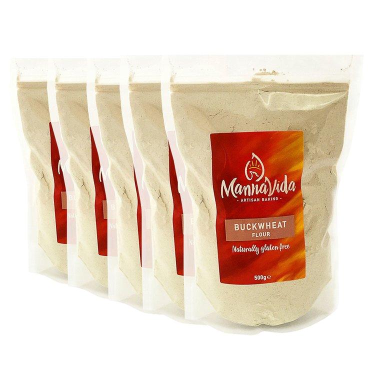 5 x Buckwheat Flour 500g - For Pancakes, Scones & Noodles (Gluten Free & 13% Protein)