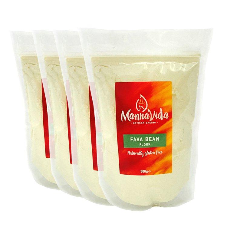 4 x Fava Bean Flour 500g (Gluten-Free Flour for Pizza, Bread & Pastries)