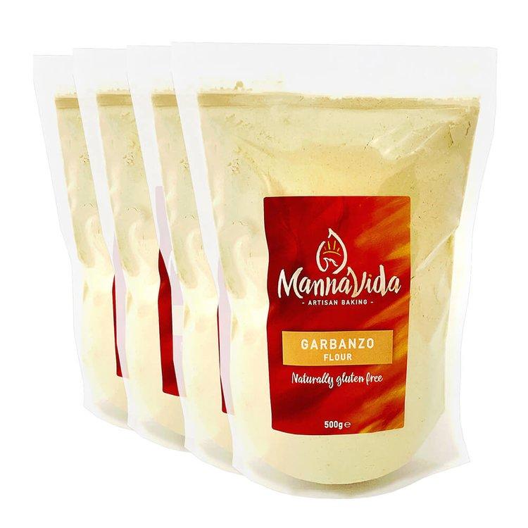 4 x Garbanzo (Chickpea) Flour 500g - Gluten-Free Gram Flour for Falafel, Hummus & Papadums