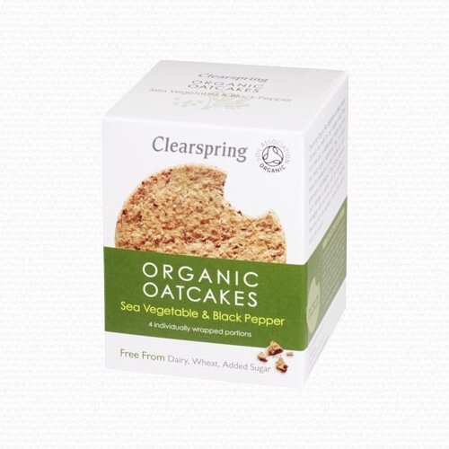 Organic Sea Vegetable & Black Pepper Wholegrain Oatcakes 200g by Clearspring