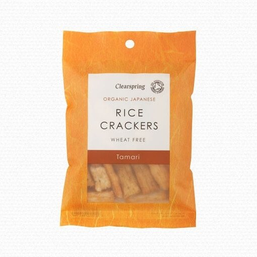 Organic Japanese Tamari Soya Sauce Rice Crackers 50g by Clearspring