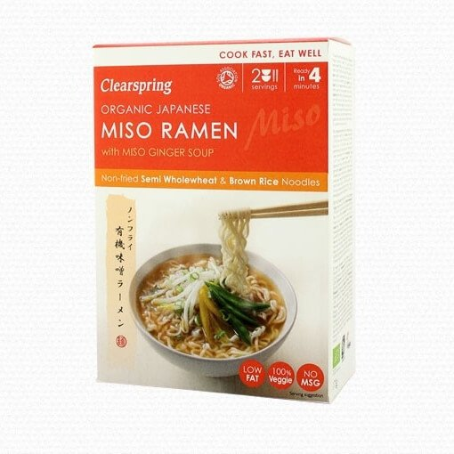 Organic Japanese Miso Ramen Noodles with Miso Ginger Soup 170g by Clearspring