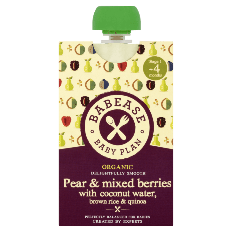 Organic Pear & Berries Stage 1 Baby Food with Coconut Water, Rice & Quinoa 100g