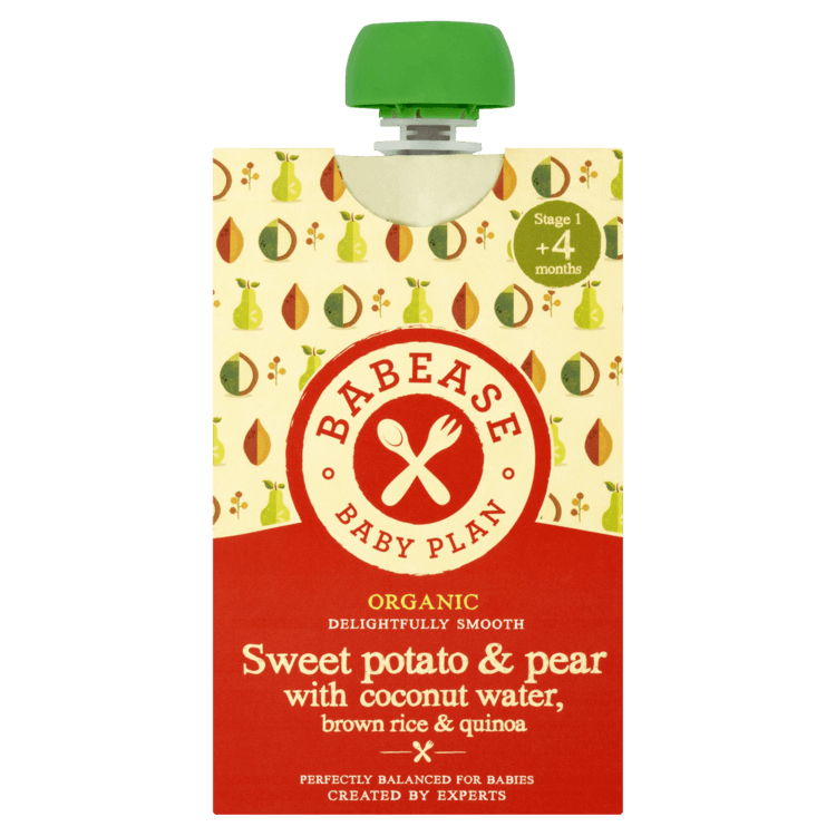 Organic Sweet Potato & Pear Stage 1 Baby Food with Coconut Water, Rice & Quinoa 100g