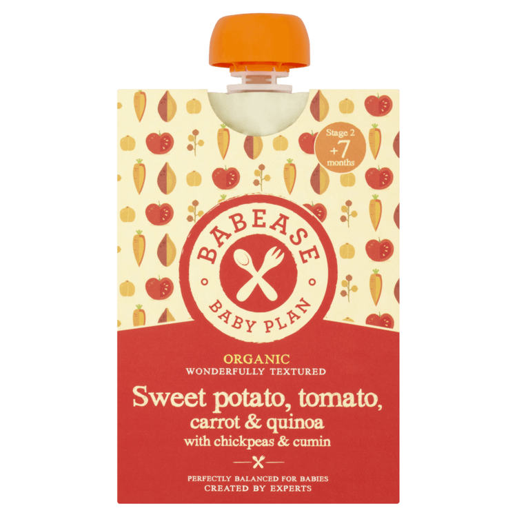 Organic Sweet Potato, Tomato, Carrot & Quinoa Stage 2 Baby Food with Chickpeas & Cumin 130g