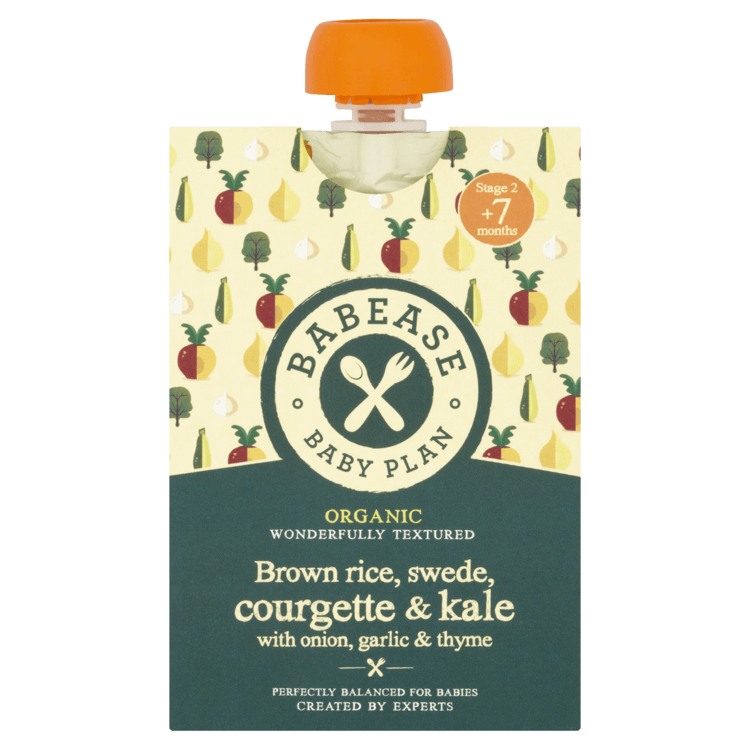 Organic Brown Rice, Swede, Courgette & Kale Stage 2 Baby Food with Onion, Garlic & Thyme 130g